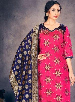 Hot Pink Fancy Banarasi Silk Pant Style Suit