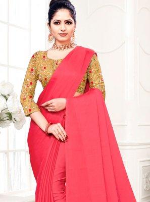 Hot Pink Fancy Fabric Festival Trendy Saree