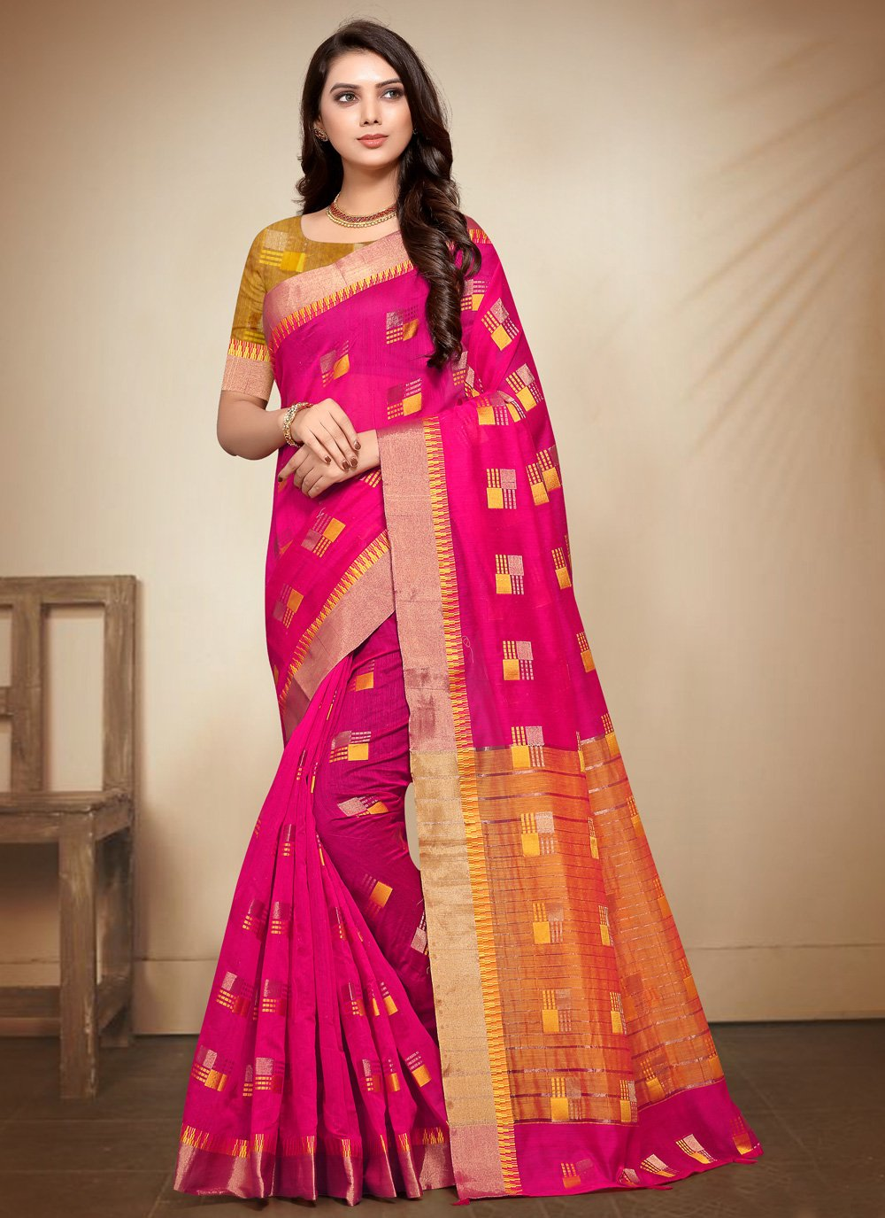 Hot Pink Fancy Fabric Party Classic Saree