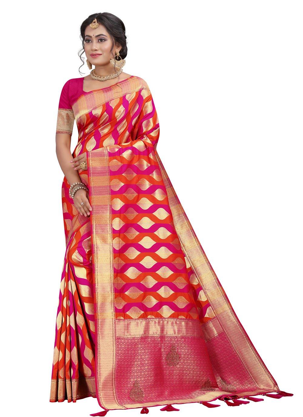 Hot Pink Fancy Silk Designer Traditional Saree
