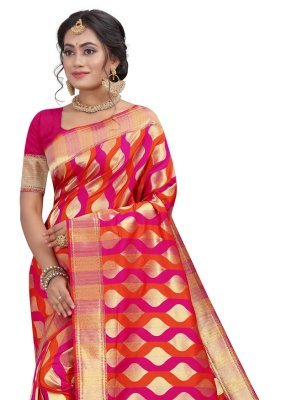 Hot Pink Fancy Silk Designer Traditional Saree