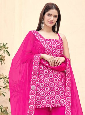 Hot Pink Faux Georgette Fancy Designer Pakistani Suit