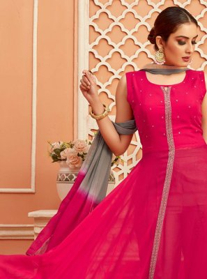Hot Pink Faux Georgette Readymade Suit