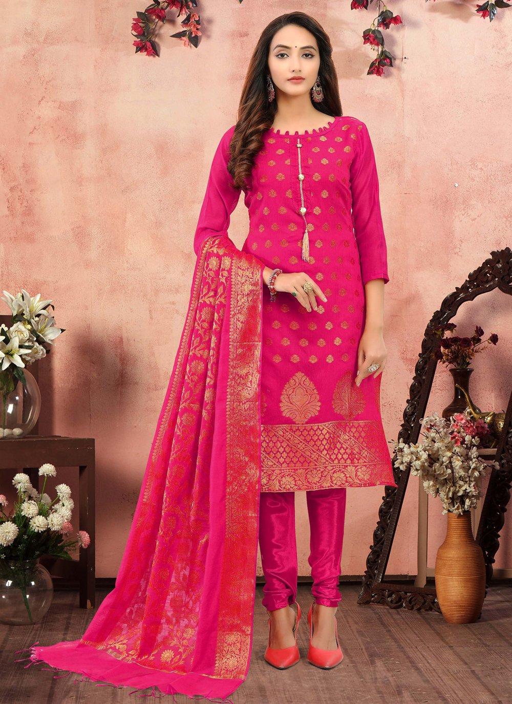 Hot Pink Festival Banarasi Silk Churidar Salwar Suit