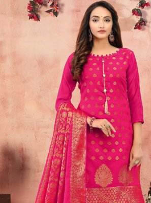 Hot Pink Festival Banarasi Silk Churidar Salwar Suit
