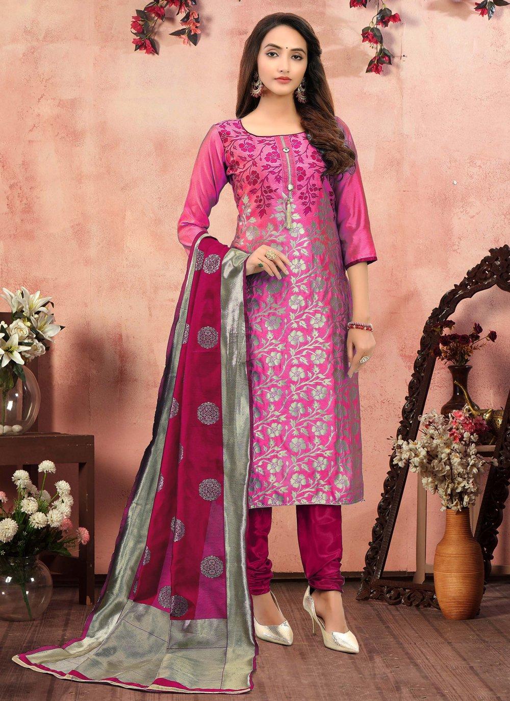 Hot Pink Festival Churidar Suit