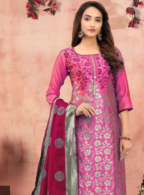 Hot Pink Festival Churidar Suit