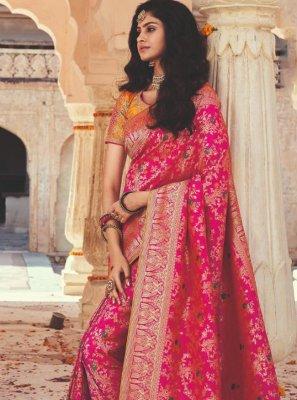 Hot Pink Festival Designer Saree