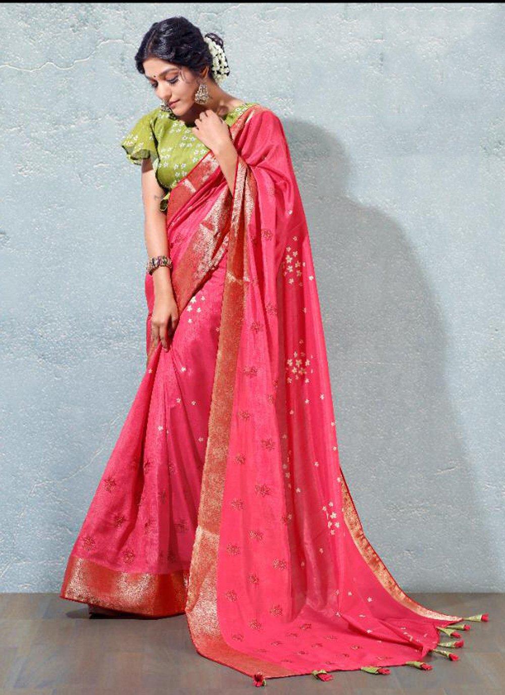 Hot Pink Festival Silk Designer Traditional Saree