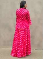 Hot Pink Festival Silk Readymade Suit