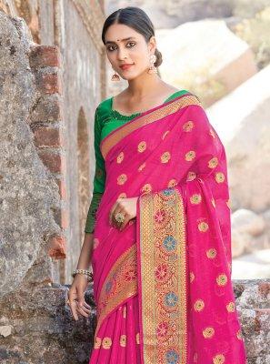 Hot Pink Handloom Cotton Traditional Designer Saree