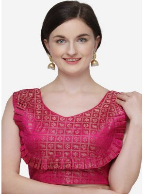 Hot Pink Jacquard Festival Designer Blouse