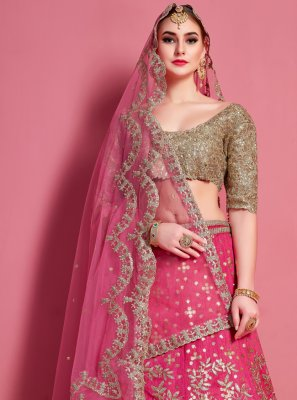 Hot Pink Lace Art Silk A Line Lehenga Choli