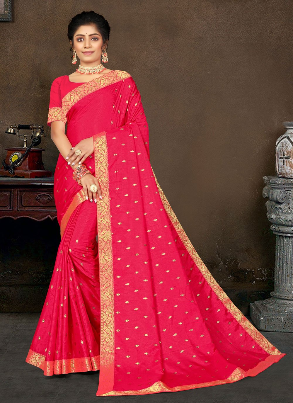 Hot Pink Lace Festival Designer Traditional Saree