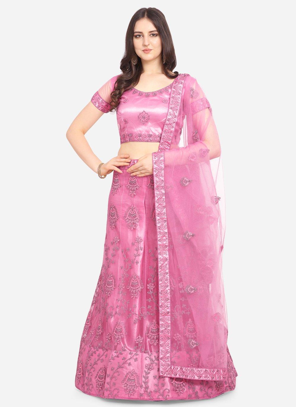 Hot Pink Net Lehenga Choli