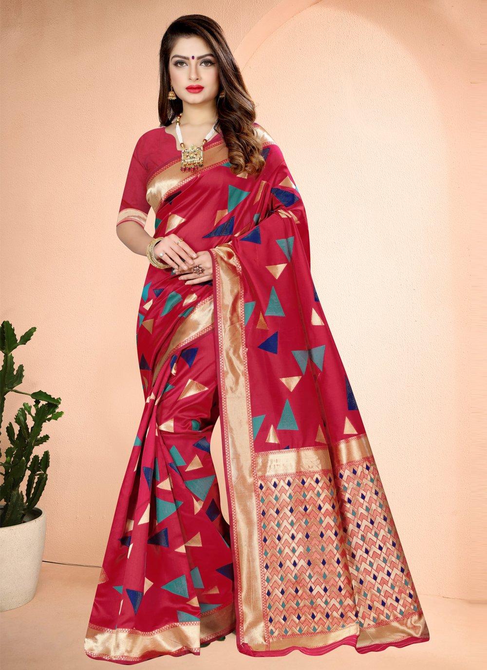 Hot Pink Printed Designer Traditional Saree