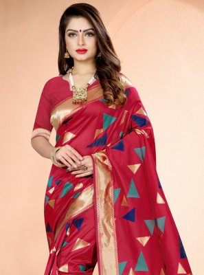 Hot Pink Printed Designer Traditional Saree