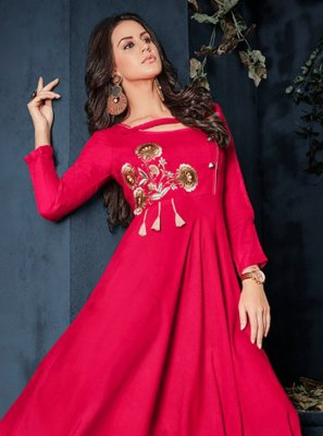 Hot Pink Rayon Embroidered Party Wear Kurti