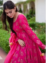 Hot Pink Rayon Readymade Suit