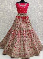 Hot Pink Resham Net Lehenga Choli