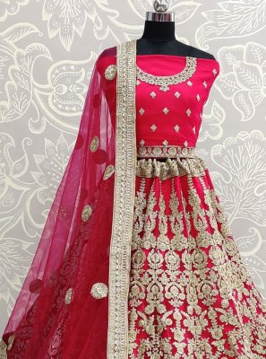 Hot Pink Resham Net Lehenga Choli