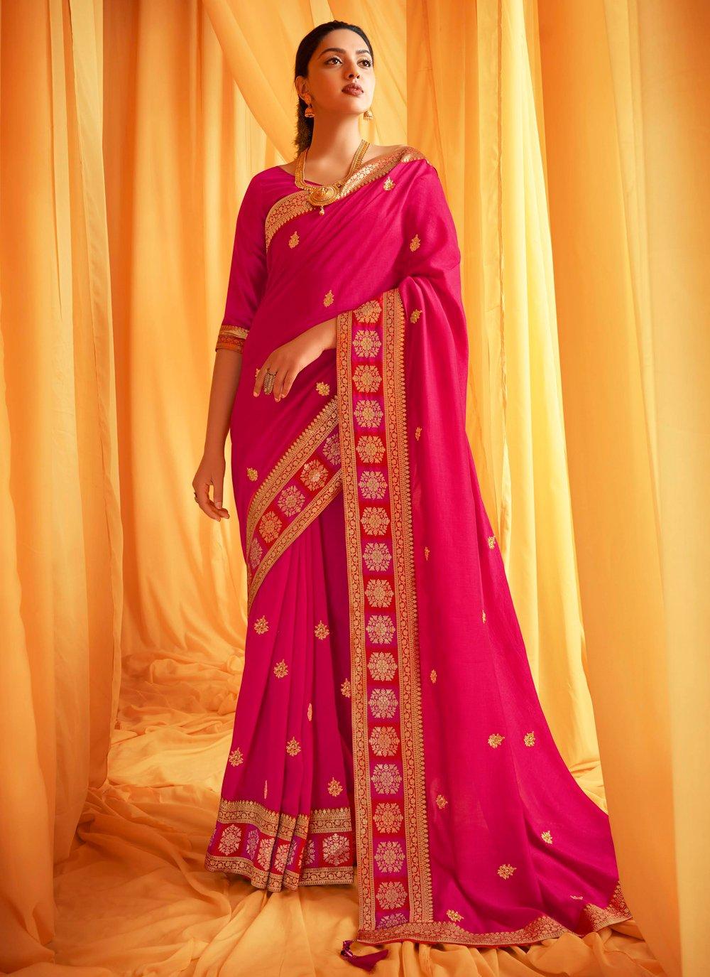 Hot Pink Silk Ceremonial Designer Traditional Saree