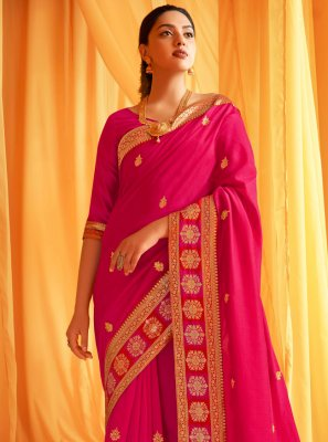 Hot Pink Silk Ceremonial Designer Traditional Saree