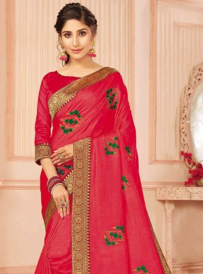 Hot Pink Silk Traditional Designer Saree