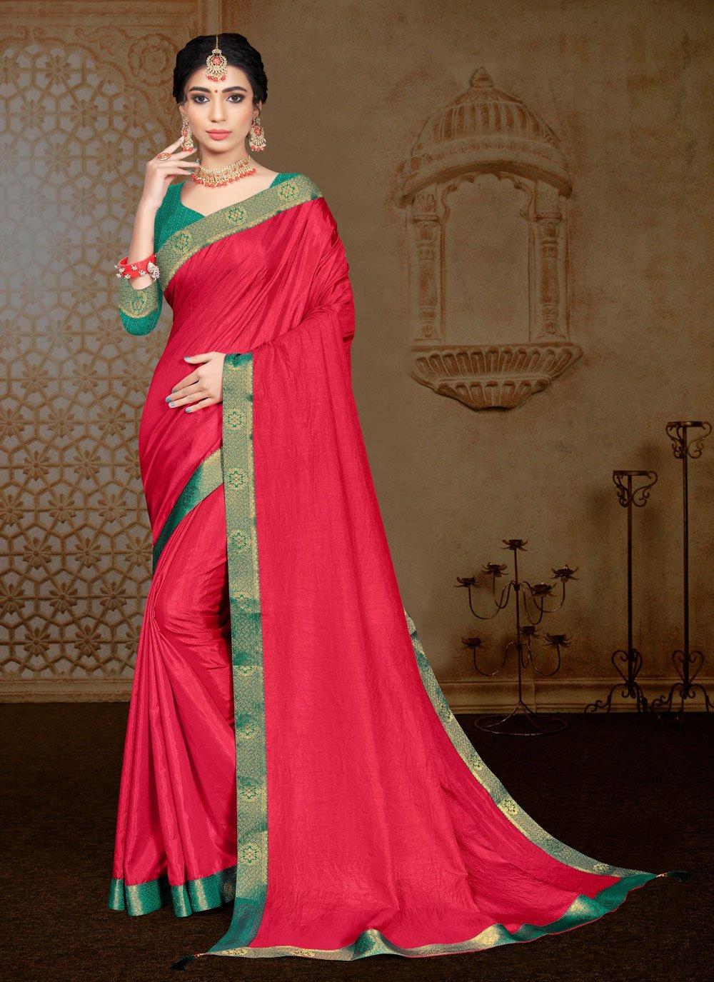 Hot Pink Vichitra Silk Classic Saree