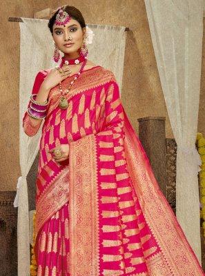 Hot Pink Weaving Banarasi Silk Designer Traditional Saree