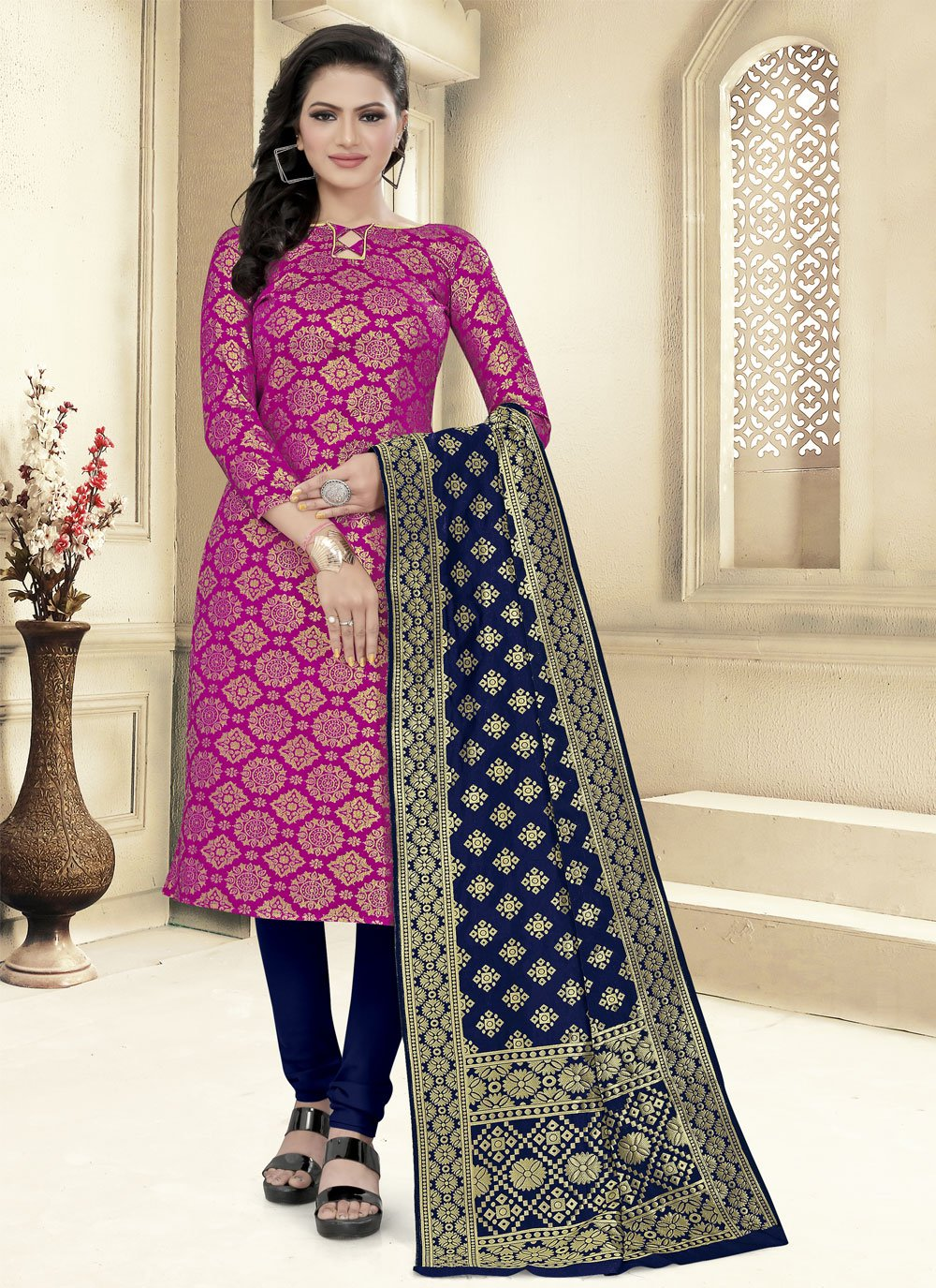 Hot Pink Weaving Fancy Fabric Churidar Suit