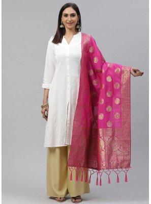 Hot Pink Weaving Festival Designer Dupatta
