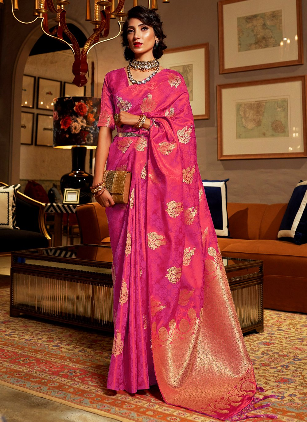 Hot Pink Weaving Satin Silk Classic Saree