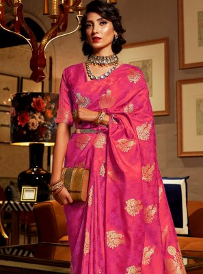 Hot Pink Weaving Satin Silk Classic Saree