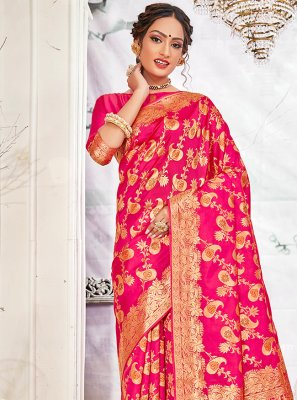 Hot Pink Weaving Traditional Saree