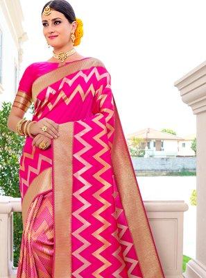 Hot Pink Weaving Wedding Designer Traditional Saree