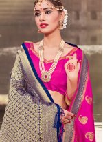 Hot Pink Woven Art Banarasi Silk Traditional Designer Saree