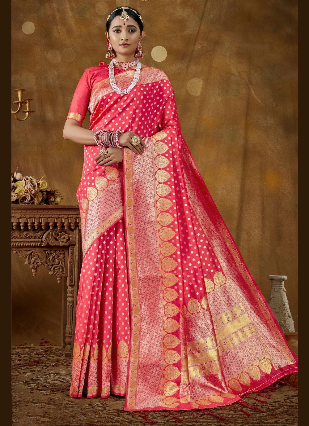 Hot Pink Woven Banarasi Silk Traditional Designer Saree
