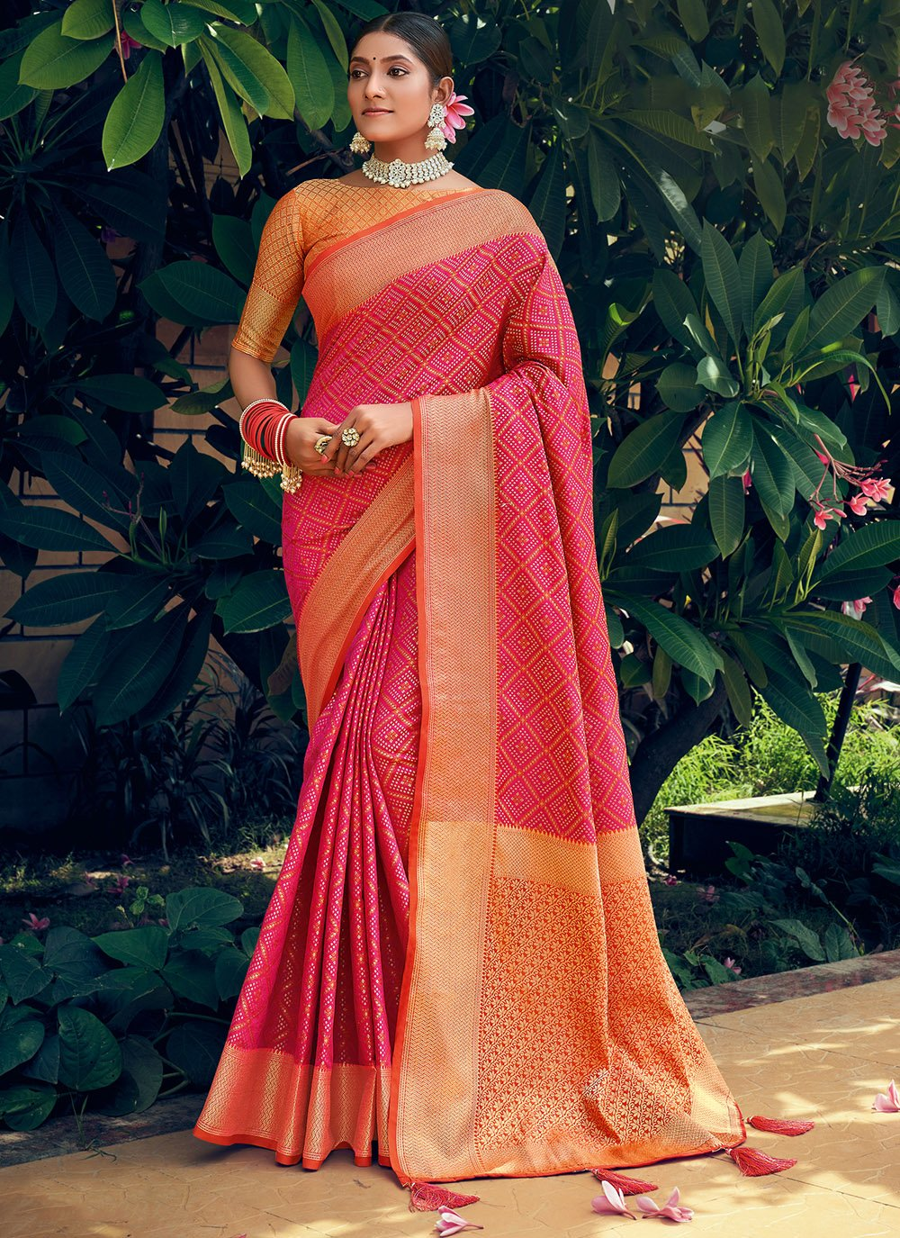 Hot Pink Woven Engagement Traditional Saree