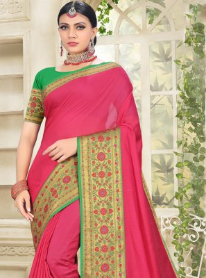 Hot Pink Woven Festival Designer Traditional Saree
