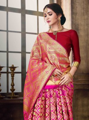 Hot Pink Woven Poly Silk Traditional Designer Saree