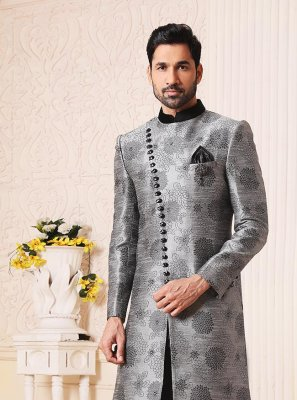 Imported Jacquard Work Grey Indo Western