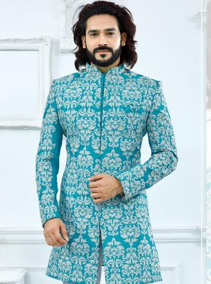 Indo Western Embroidered Banglori Silk in Turquoise
