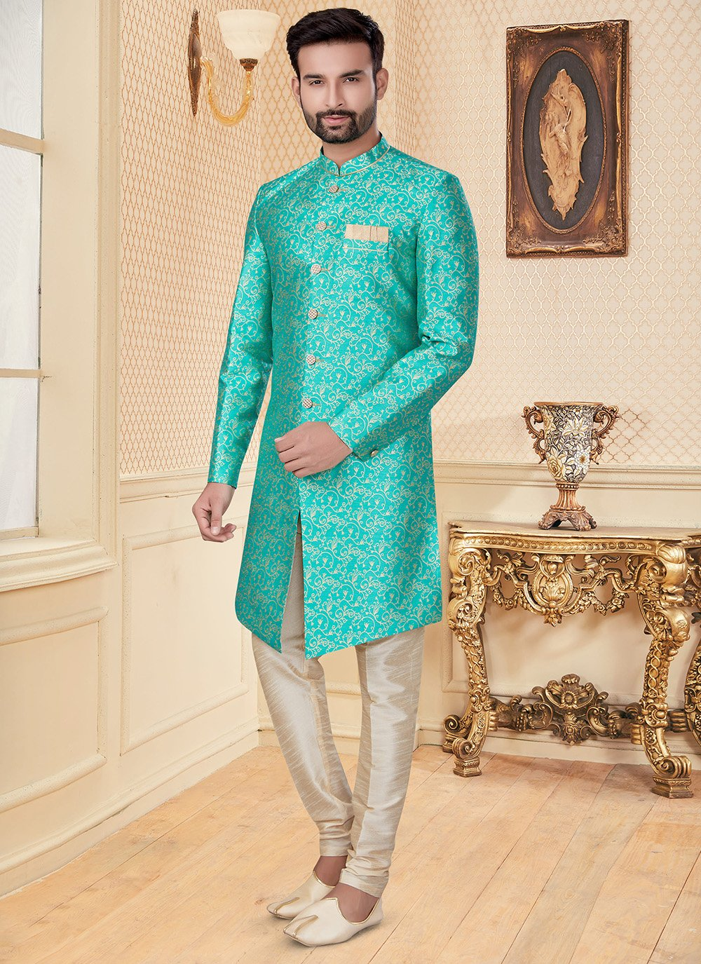 Indo Western Embroidered Jacquard in Turquoise