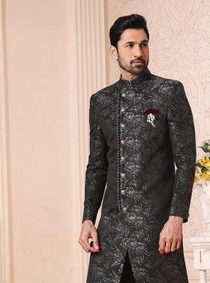 Indo Western Jacquard Work in Black