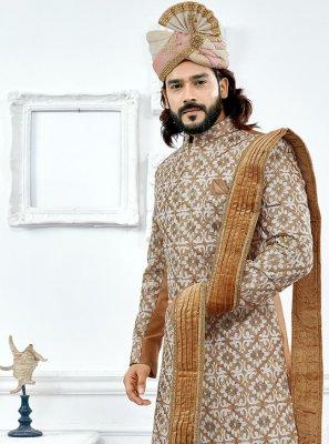 Indo Western Sherwani Embroidered Art Silk in Beige