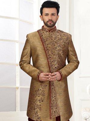 Indo Western Sherwani Embroidered Art Silk in Brown
