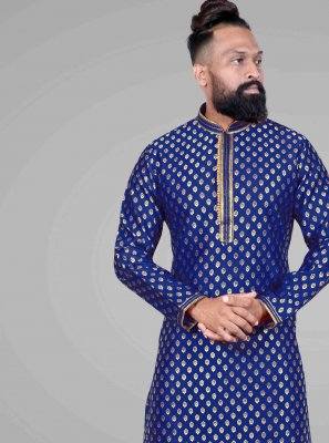 Jacquard Embroidered Blue Kurta Pyjama