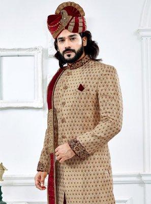 Jacquard Embroidered Cream Indo Western Sherwani