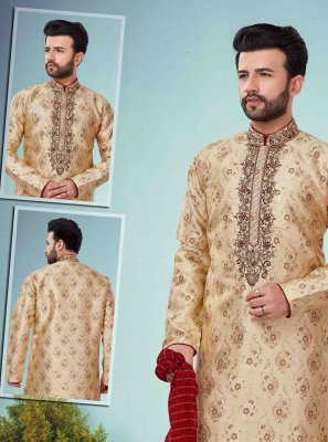Jacquard Embroidered Gold Kurta Pyjama